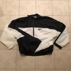 XL 90s Reebok White and Black Windbreaker